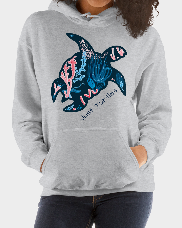 Coral Pattern Sea Turtle Hooded Sweatshirt