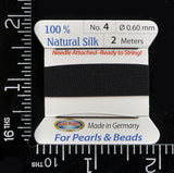 # 4 (0.6mm) Black Silk Cord Thread With Attached Needle For Jewelry Making, 2m long