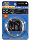 22 Gauge 99.9% pure Silver Plated German Style Wire