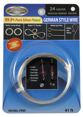 24 Gauge 99.9% pure Silver Plated German Style Wire