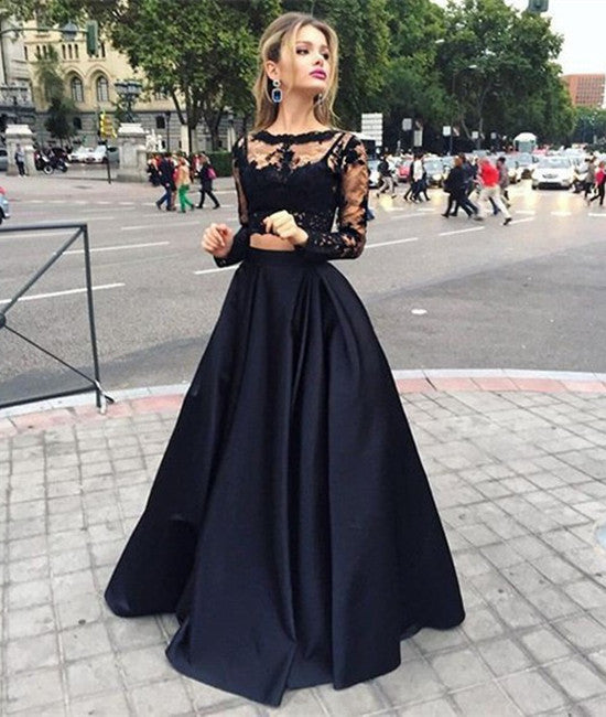 Modern Scoop Long Sleeves Lace Black Two-pieces Prom Dresses, Formal Dresses