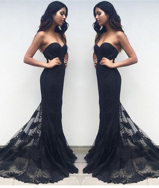 Charming Black Sweetheart Neck Lace Train Long Prom Dresses, Black Evening Dresses, New Arrival Prom Dresses, Mermaid Formal Dresses