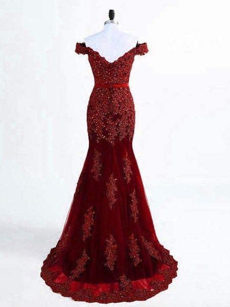 A Line Off Shoulder Burgundy Lace Prom Dresses, Burgundy Lace Formal Dresses, Bridesmaid Dresses