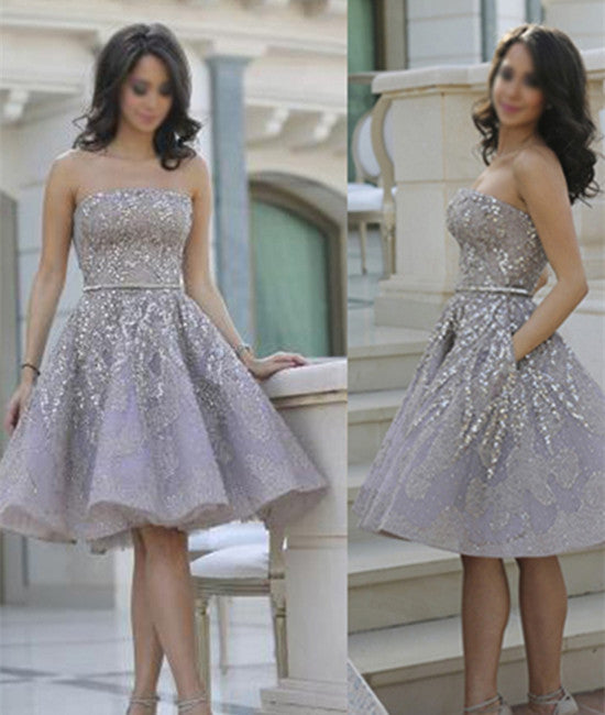 Hot Selling Strapless Knee-Length Lavender Organza Homecoming Dresses With Beading Sash Pockets