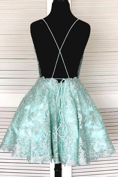 A-Line Spaghetti Straps Backless Mint Green Lace Short Prom Dress, Backless Mint Green Lace Formal Graduation Homecoming Dress