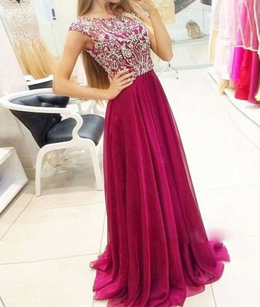 A-Line Crystal Chiffon Prom Dresses Open Back Beading Zipper Evening Gown, Formal Dresses