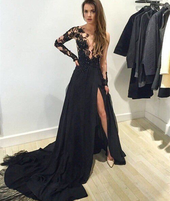 A-Line Long Sleeve Black Lace Prom Dresses With Train, Lace Black Evening Dresses