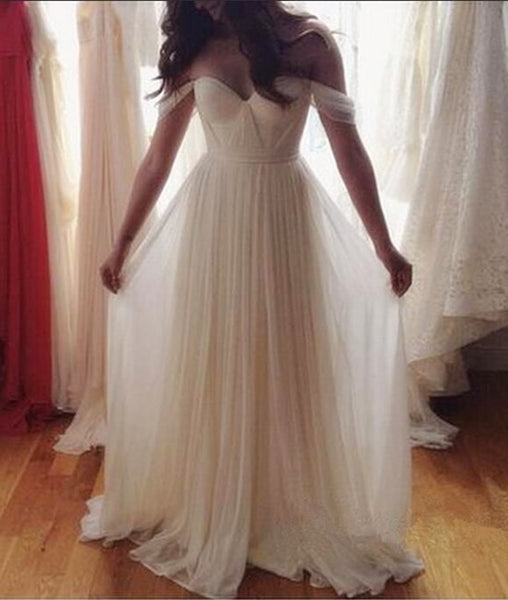 A-Line Off-Shoulder White Chiffon Backless Prom Dresses, Evening Dresses, Backless Wedding Dresses