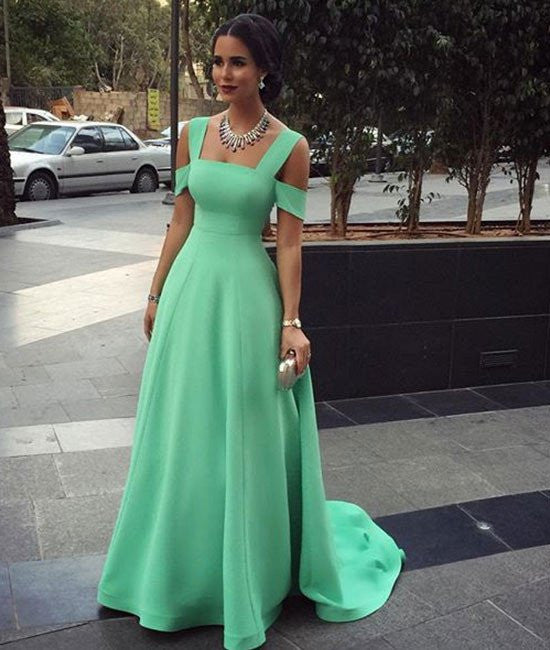 d418b18f2019 A-Line Off Shoulder Green Prom Dresses