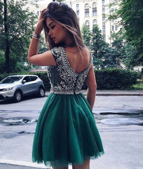 A-Line Round-Neck Short Green Prom Dresses, Green Homecoming Dresses