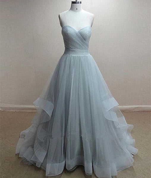 A-Line Sweetheart Neck Grey Prom Dresses, Formal Dresses, Grey Wedding Dresses