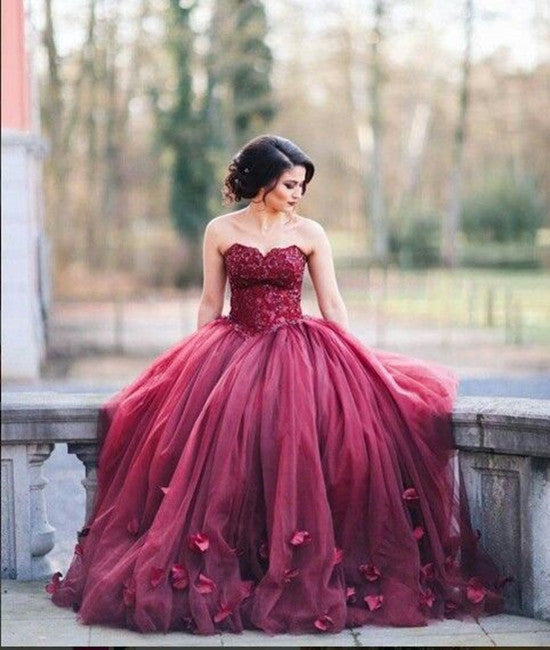 A-Line Sweetheart Neck Tulle Lace Burgundy Prom Dresses, Burgundy Evening Dresses