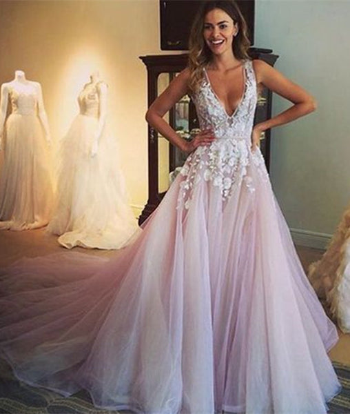 A-Line V-Neck Lace Long Prom Dresses, Wedding Dresses, Prom Gown