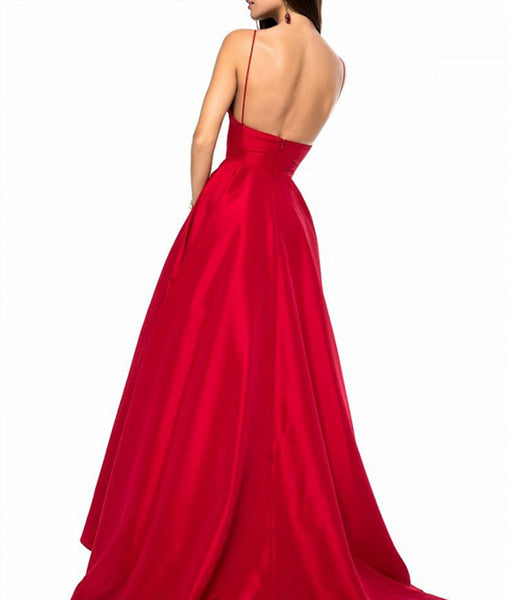 A-Line V Neck Spaghetti Straps Backless Sweep Train Red Satin Long Prom Dress, Red Formal Dress, Evening Dress