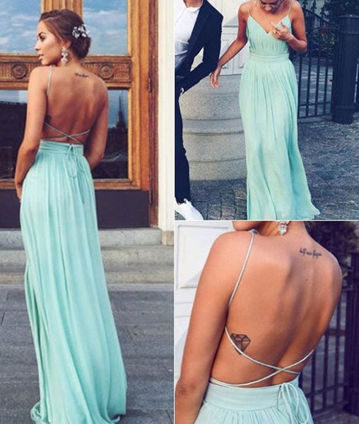 A-line Backless Chiffon Green Long Prom Dresses, Green Evening Dresses