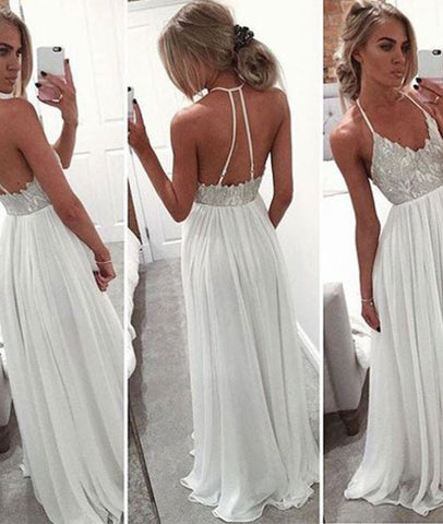 A-line Backless Long Prom Dresses, Formal Dresses, White Evening Dresses