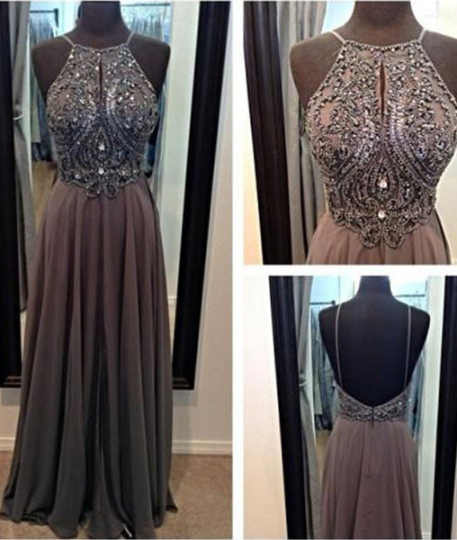 A-line Chiffon Beaded Backless Long Prom Dresses, Long Grey Evening Dresses