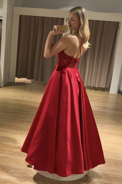 A Line Backless Long Red Lace Prom Dress, Red Lace Formal Dress, Red Evening Dress