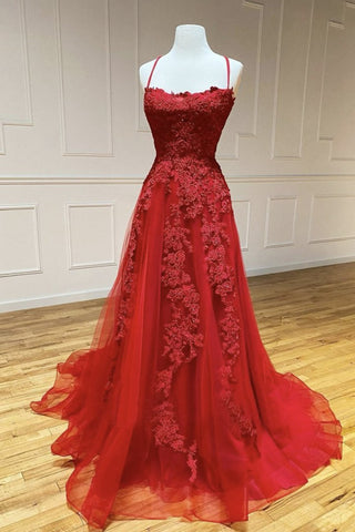 A Line Backless Red Lace Long Prom Dress, Long Red Lace Formal Dress, Red Evening Dress