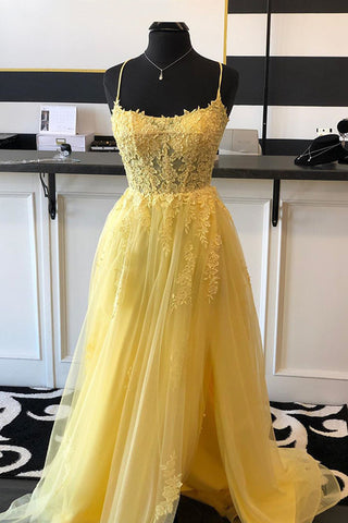 A Line Backless Yellow Lace Floral Long Prom Dress with High Slit, Open Back Yellow Lace Formal Dress, Yellow Lace Evening Dress