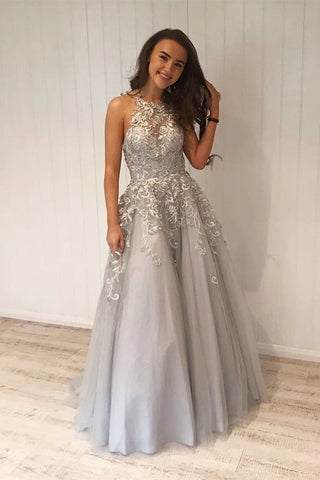 A Line Grey Lace Long Prom Dress with Appliques, Grey Lace Formal Graduation Evening Dress