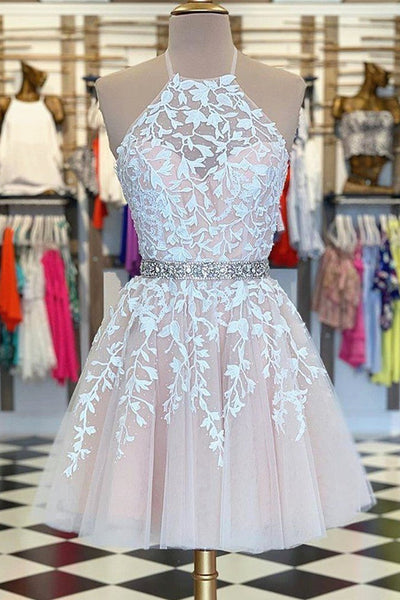 A Line Halter Neck Short Pink Lace Prom Dress with Belt, Pink Lace Formal Graduation Homecoming Dress