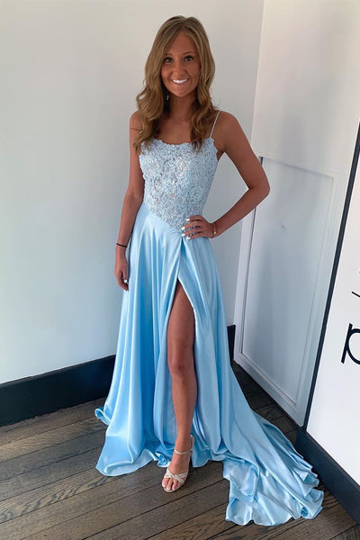 A Line Light Blue Lace Long Prom Dress with Slit, Light Blue Lace Formal Dress, Light Blue Evening Dress