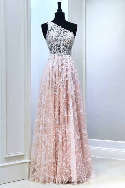 A Line One Shoulder Pink Lace Long Prom Dress, Pink Lace Formal Dress, Pink Evening Dress