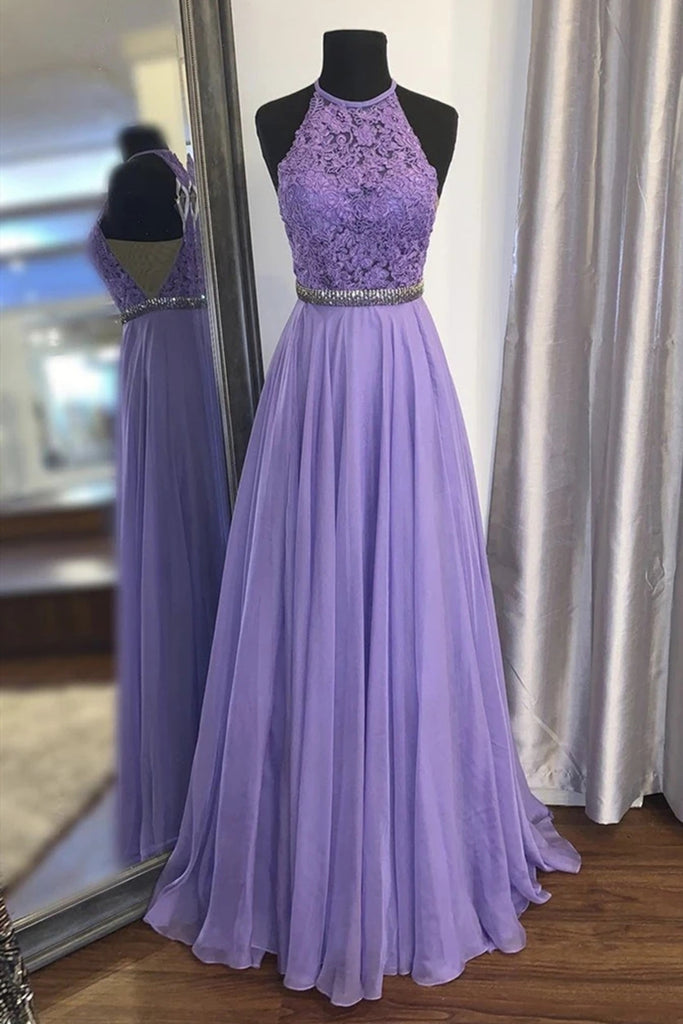 A Line Purple Lace Long Prom Dress with Belt, Purple Lace Formal Dress, Purple Evening Dress, Bridesmaid Dress