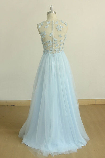 A Line Round Neck Baby Blue Lace Long Prom Dress with Butterfly, Baby Blue Lace Formal Graduation Evening Dress