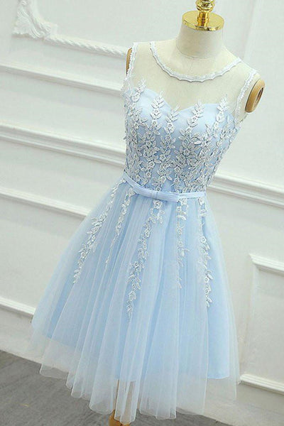 A Line Round Neck Lace Blue Short Prom Dress, Short Blue Lace Formal Graduation Homecoming Dress