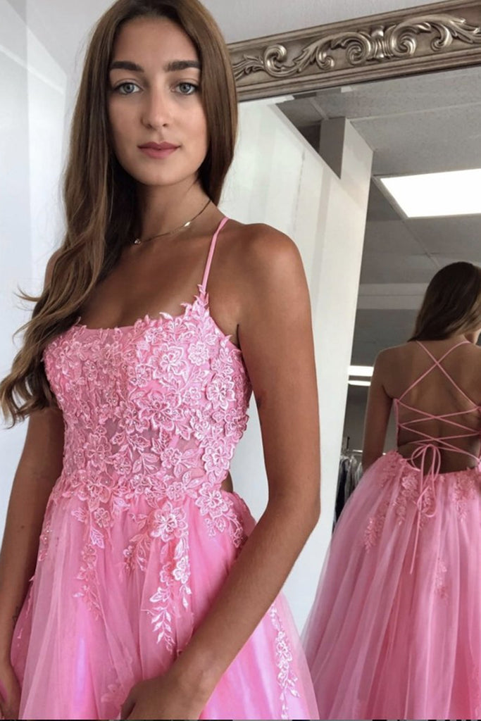 A Line Spaghetti Straps Backless Long Pink Lace Prom Dress, Pink Lace Formal Graduation Evening Dress