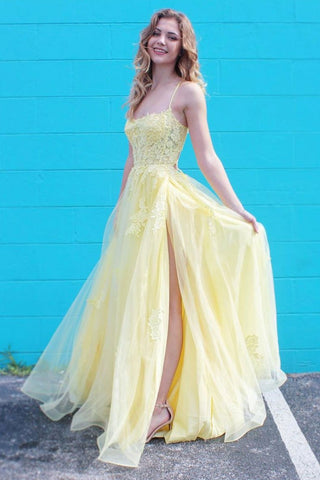 A Line Spaghetti Straps Yellow Lace Long Prom Dress with Slit, Yellow Lace Formal Graduation Evening Dress