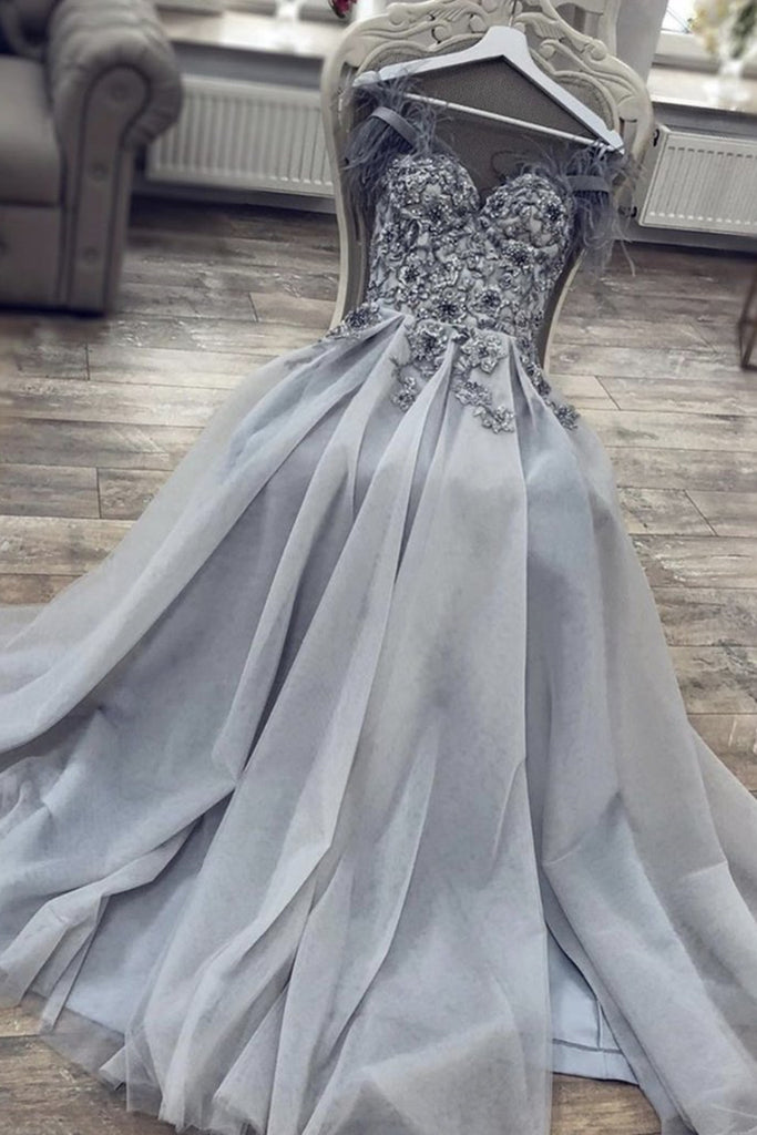 A Line Sweetheart Neck Long Gray Lace Prom Dress, Gray Lace Formal Dress, Grey Evening Dress