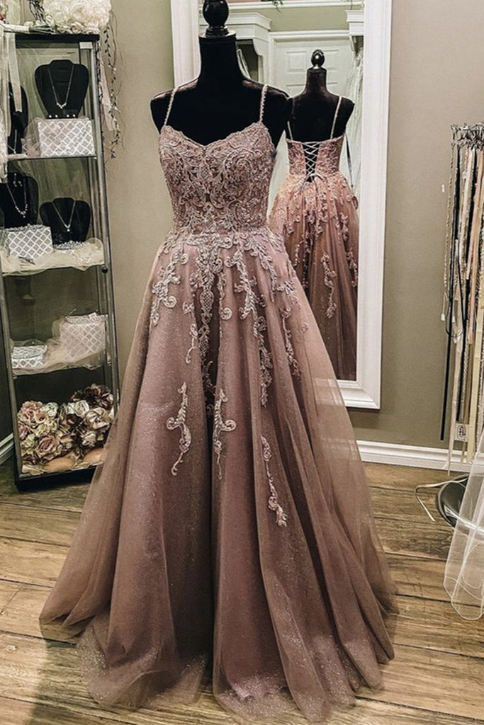 A Line Thin Strap Champagne Lace Long Prom Dress, Champagne Lace Formal Dress, Champagne Evening Dress