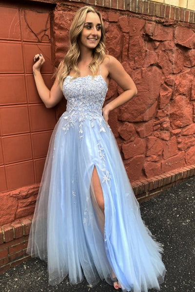 A Line Thin Strap Light Blue Lace Long Prom Dress with Slit, Light Blue Lace Formal Evening Dress
