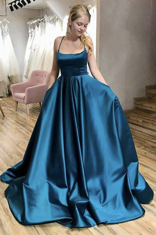 A Line Thin Straps Open Back Blue Long Prom Dress, Backless Blue Formal Evening Dress