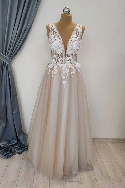 A Line V Neck Appliques White Lace Champagne Prom Dress, Champagne Lace Formal Graduation Evening Dress