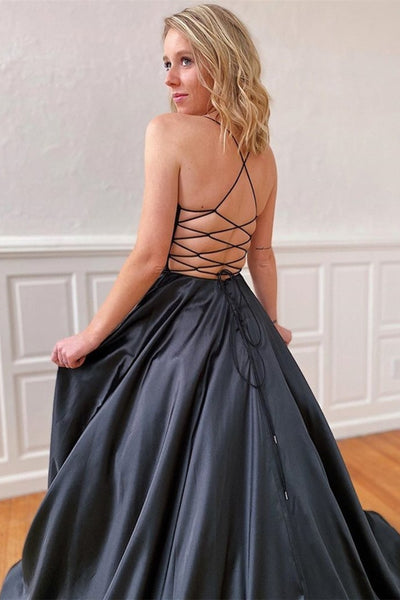 A Line V Neck Backless Black Satin Long Prom Dress, Backless Black Formal Graduation Evening Dress