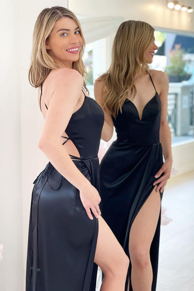 A Line V Neck Backless Black Satin Long Prom Dress with High Slit, Backless Black Formal Graduation Evening Dress