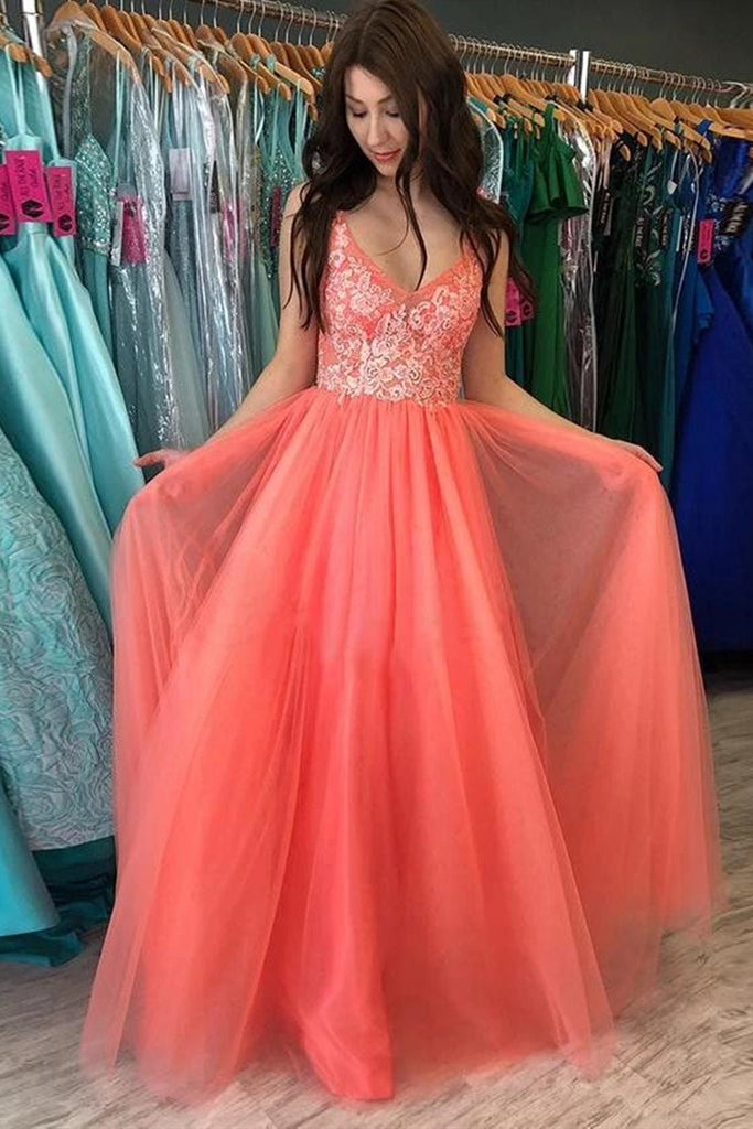 A Line V Neck Backless Coral Lace Long Prom Dress, Coral Lace Floral Formal Dress, Coral Evening Dress