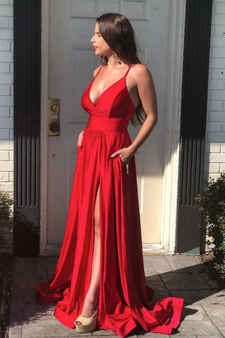A Line V Neck Backless Red Long Prom Dress with High Slit, Backless Red Formal Dress, Red Evening Dress