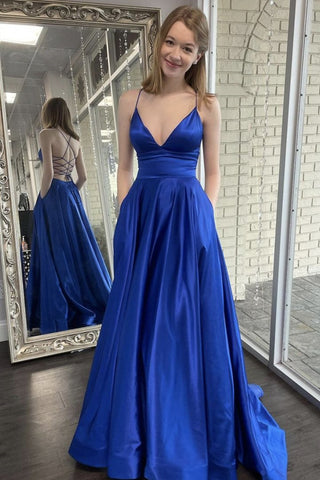 A Line V Neck Backless Royal Blue Satin Long Prom Dress with Pocket, Backless Long Royal Blue Formal Evening Dress