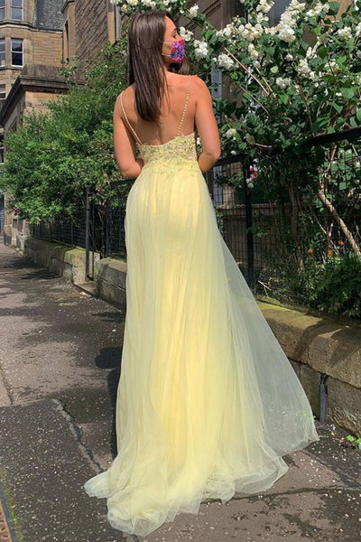 A Line V Neck Backless Yellow Lace Prom Dress with Leg Slit, Yellow Lace Formal Dress, Yellow Evening Dress
