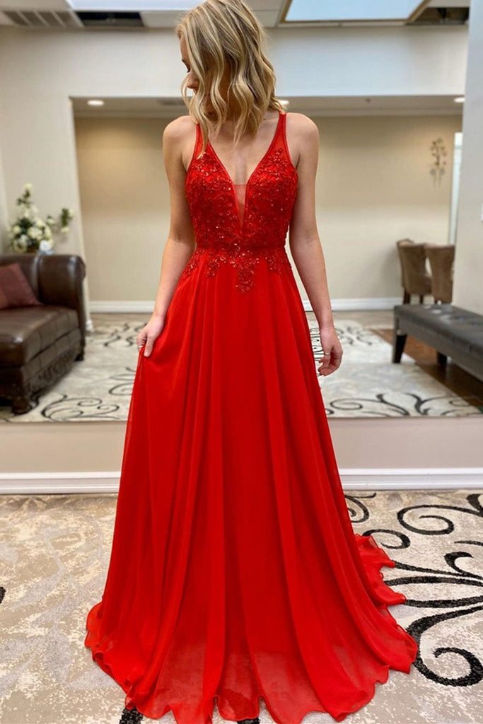 A Line V Neck Beaded Red Lace Long Prom Dress, Red Lace Formal Dress, Red Evening Dress