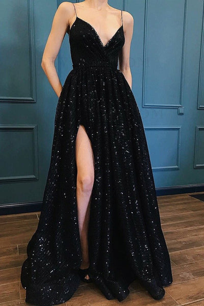 A Line V Neck Black Lace Long Prom Dress with Slit, Black Long Lace Formal Graduation Evening Dress