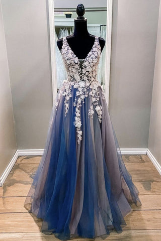 A Line V Neck Blue Lace Long Prom Dress, Long Blue Formal Evening Dress