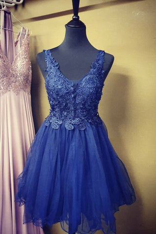 A Line V Neck Blue Lace Short Prom Dress, Blue Lace Homecoming Dress, Short Blue Formal Evening Dress