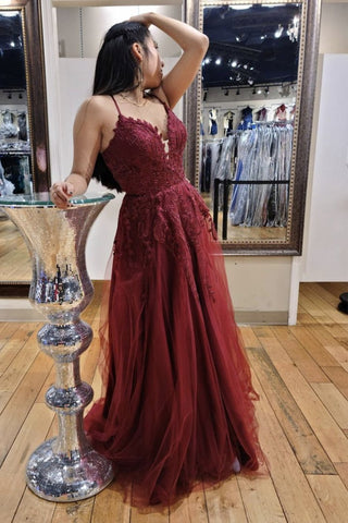 A Line V Neck Burgundy Lace Long Prom Dress, Long Burgundy Lace Formal Evening Dress