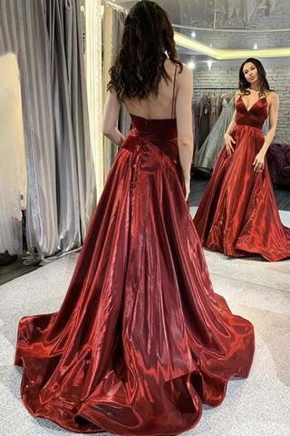 A Line V Neck Burgundy Satin Long Prom Dress, Long Burgundy Formal Evening Dress